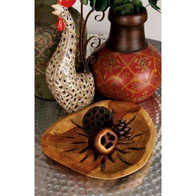 Stained Brown Decorative Teak Bowls (Set of 3)