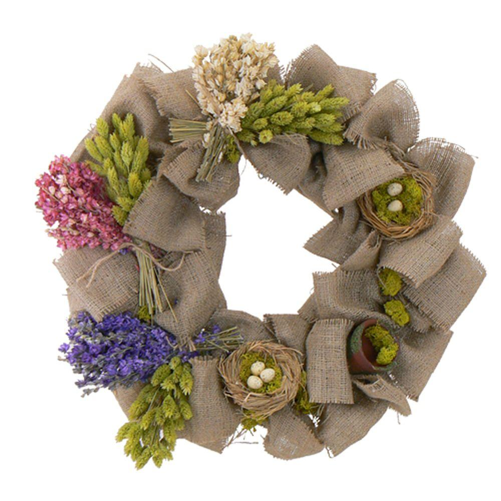 The Christmas Tree Company Bird's Nest and Blooms with Burlap 20 in. Dried Floral Wreath-DISCONTINUED