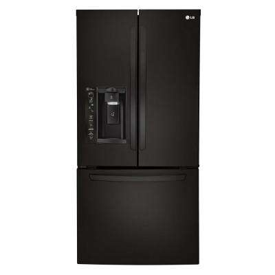 33 in. W 24.2 cu. ft. French Door Refrigerator in Smooth Black