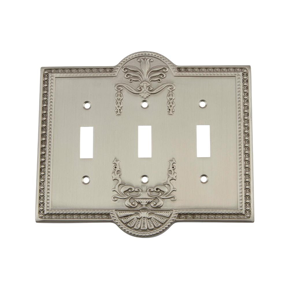 Meadows Switch Plate with Triple Toggle in Satin Nickel