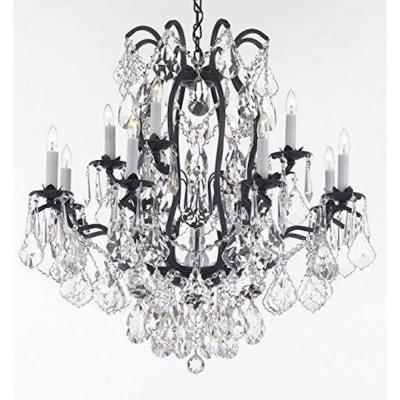 Versailles 12-Light Wrought Iron and Crystal Chandelier Dressed with Diamond Cut Crystal