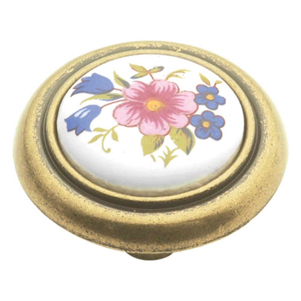 English Cozy 1-1/4 in. White/Bouquet Cabinet Knob