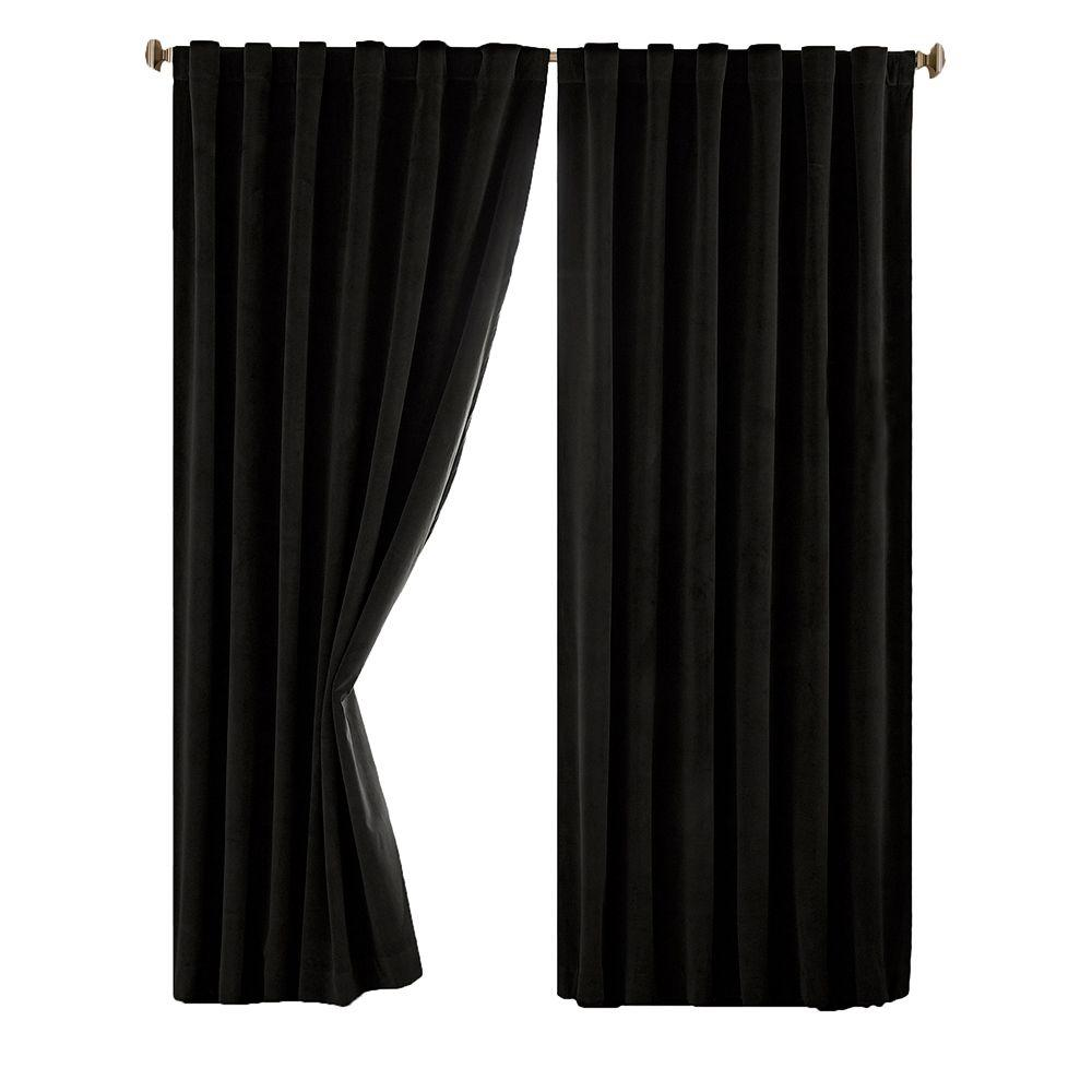 Blackout Total Black Faux Velvet Curtain Panel 63 In Length