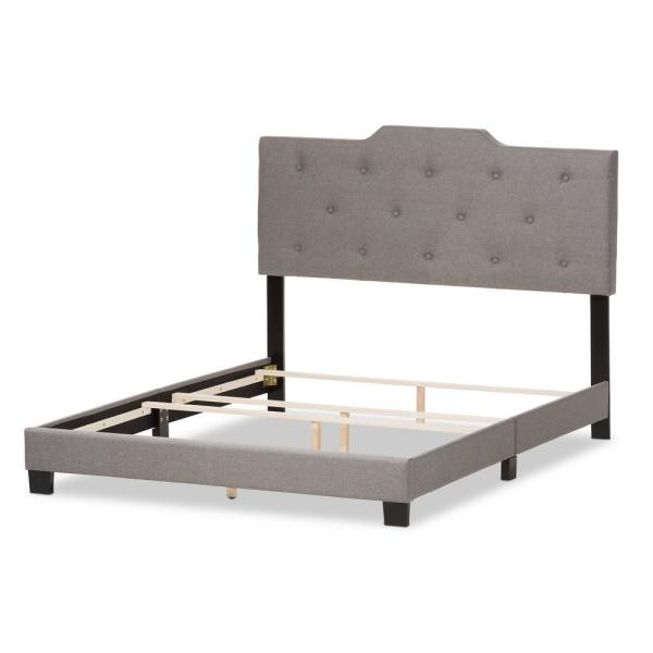 Baxton Studio Brunswick Gray Fabric Upholstered King Bed 28862-7471-HD