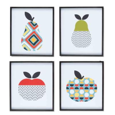 Funky Framed Fruit Wall Art 15.7 in. H x 14 in. W (Set of 4)