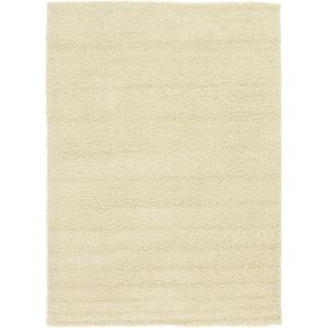 Solid Shag Pure Ivory 7 ft. x 10 ft. Area Rug