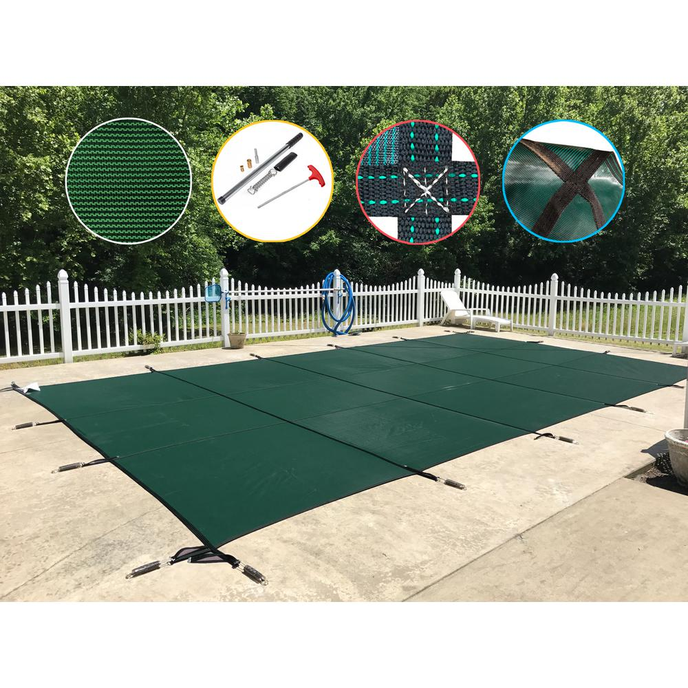 WaterWarden 16 ft. x 40 ft. Rectangle Green Mesh In-Ground Safety Pool Cover