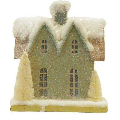 9.25 in. Snow Covered House with White Trees Christmas Tabletop Decoration