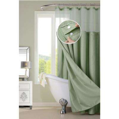 72 in. x 72 in. Hotel Complete Waffle  Sage Green Shower Curtain with Snap on/off Waterproof Detachable Liner Set