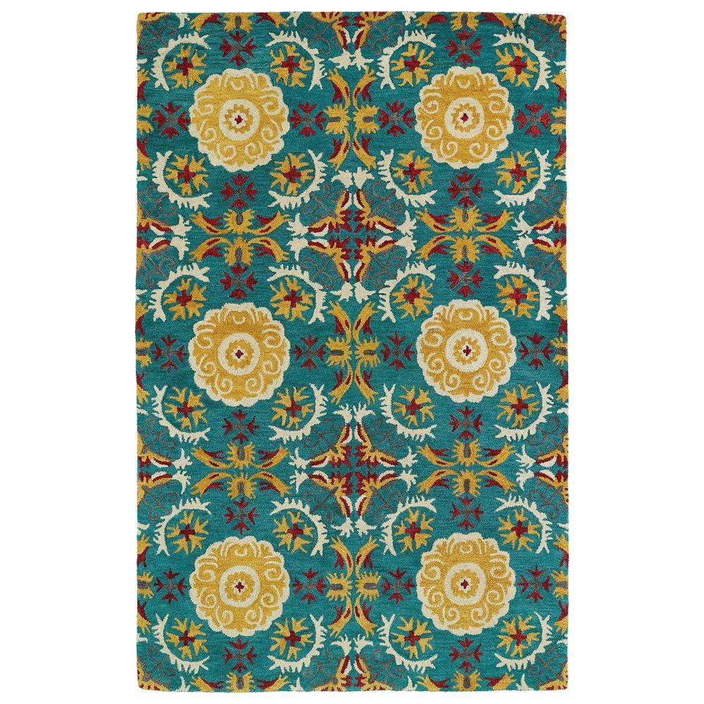 Global Inspiration Turquoise 2 ft. x 3 ft. Area Rug