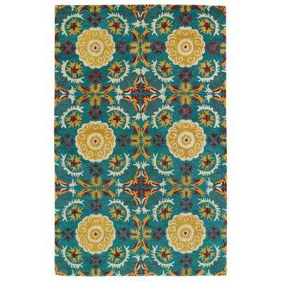 Global Inspiration Turquoise 8 ft. x 10 ft. Area Rug
