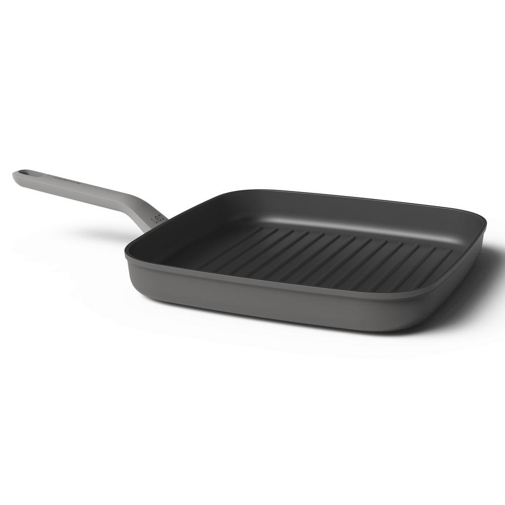 Leo 3.25 in. Aluminum Nonstick Grill Pan in Grey
