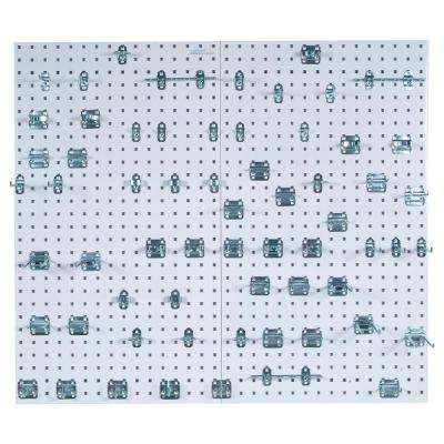 LocBoard (2) 24 in. W x 42-1/2 in. x 9/16 in. White Epoxy 18-Gauge Steel Square Hole Pegboards w/63 pc. LocHook Assorted