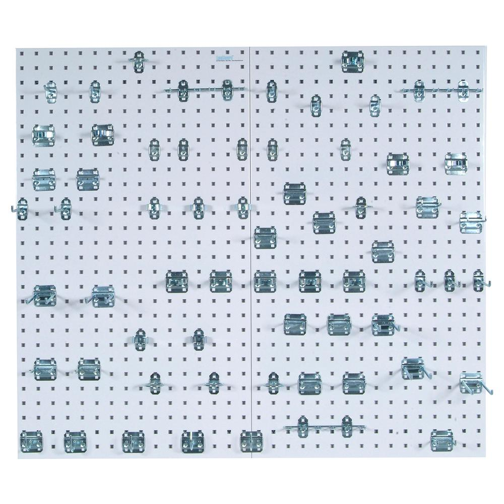 Triton Products LocBoard (2) 24 in. W x 42-1/2 in. x 9/16 in. White Epoxy 18-Gauge Steel Square Hole Pegboards w/63 pc. LocHook Assorted
