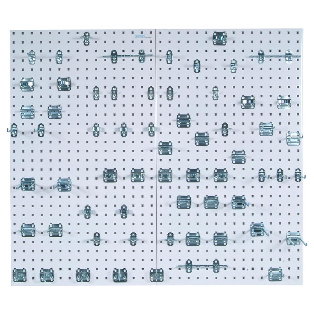 LocBoard (2) 24 in. W x 42-1/2 in. x 9/16 in. White Epoxy 18-Gauge Steel Square Hole Pegboards w/63 pc. LocHook Assorted