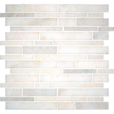 Greecian White Interlocking 12 in. x 12 in. x 10 mm Polished Marble Mesh-Mounted Mosaic Tile (10 sq. ft. / case)