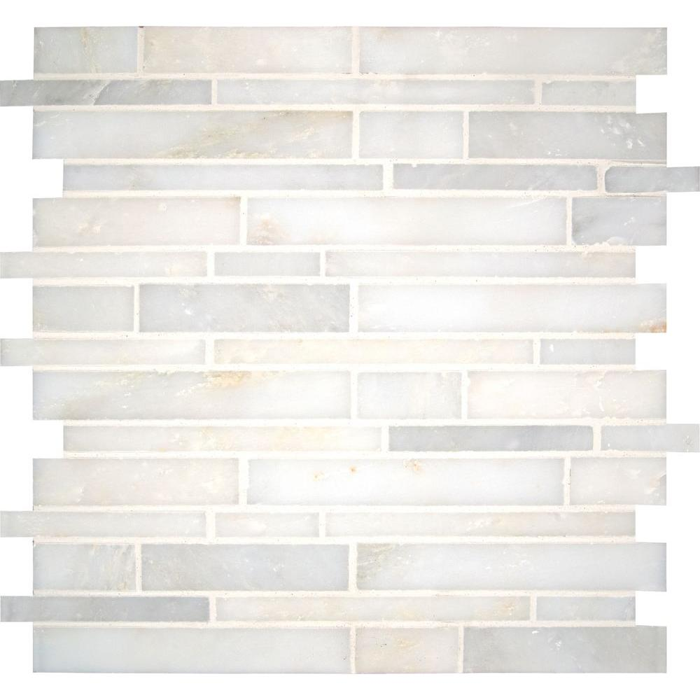 Msi Greecian White Interlocking 12 In X 10 Mm Polished Marble Mesh Mounted Mosaic Tile Sq Ft Case Gre Ilp10mm The Home Depot