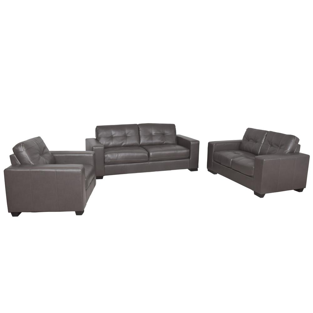 Corliving Tufted Brownish Grey Bonded Leather Sofa Set Brownish Grey