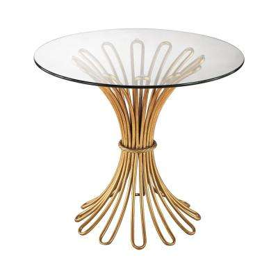 Flaired Rope Gold Leaf and Clear Glass Side Table