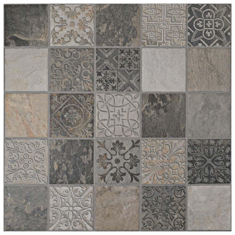 Merola Tile Deco Calzada Ardesia 17-1/2 in. x 17-1/2 in. Porcelain Floor and Wall Tile (11 sq. ft. / case)