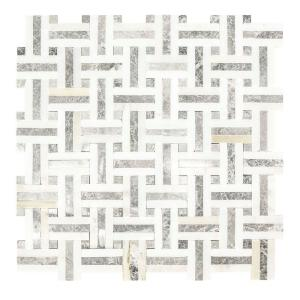 Windswept 12.75 in. x 12.375 in. x 8 mm Marble Mosaic Wall Tile