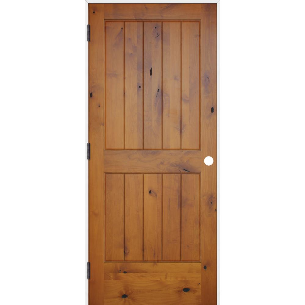 Pacific Entries 36 In X 80 In Rustic Prefinished 2 Panel V Groove Solid Core Knotty Alder Single Prehung Interior Door W Primed Jamb