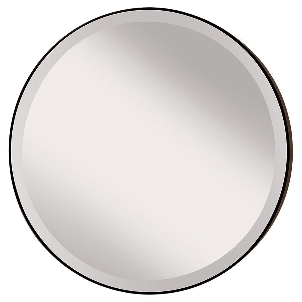 Feiss Johnson 28 5 In W Round Circle Glass Wall Decor Mirror With 2 In W Oil Rubbed Bronze Frame And Beveled Edge With Hooks
