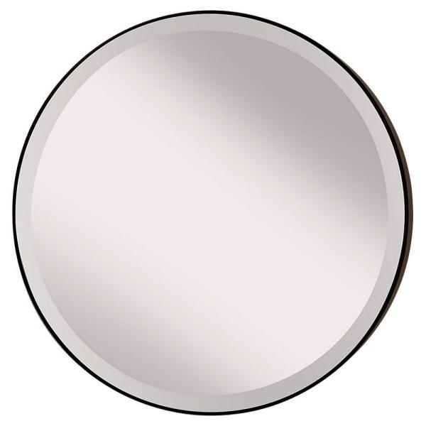 Johnson 28.5 in. W Round Circle Glass Wall Decor Mirror with 2 in. W Oil Rubbed Bronze Frame and Beveled Edge with Hooks