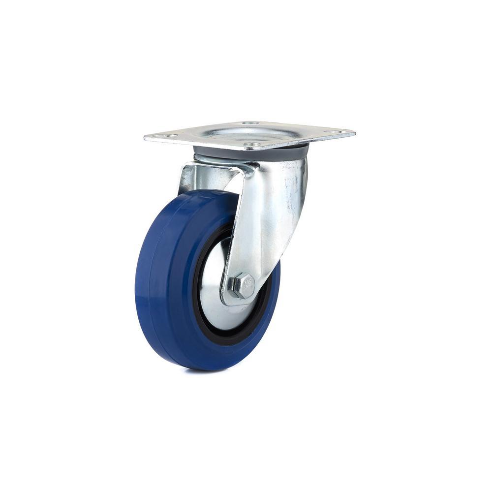 4 in. Heavy-Duty Blue Elastic Rubber Swivel Caster