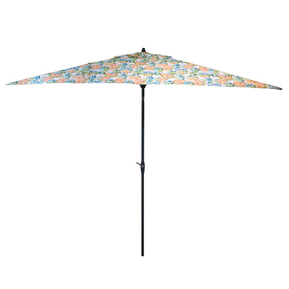 Hampton Bay 10 Ft X 6 Ft Aluminum Market Patio Umbrella In