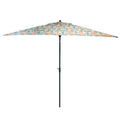 10 ft. x 6 ft. Aluminum Market Patio Umbrella in Pineapple with Push-Button Tilt