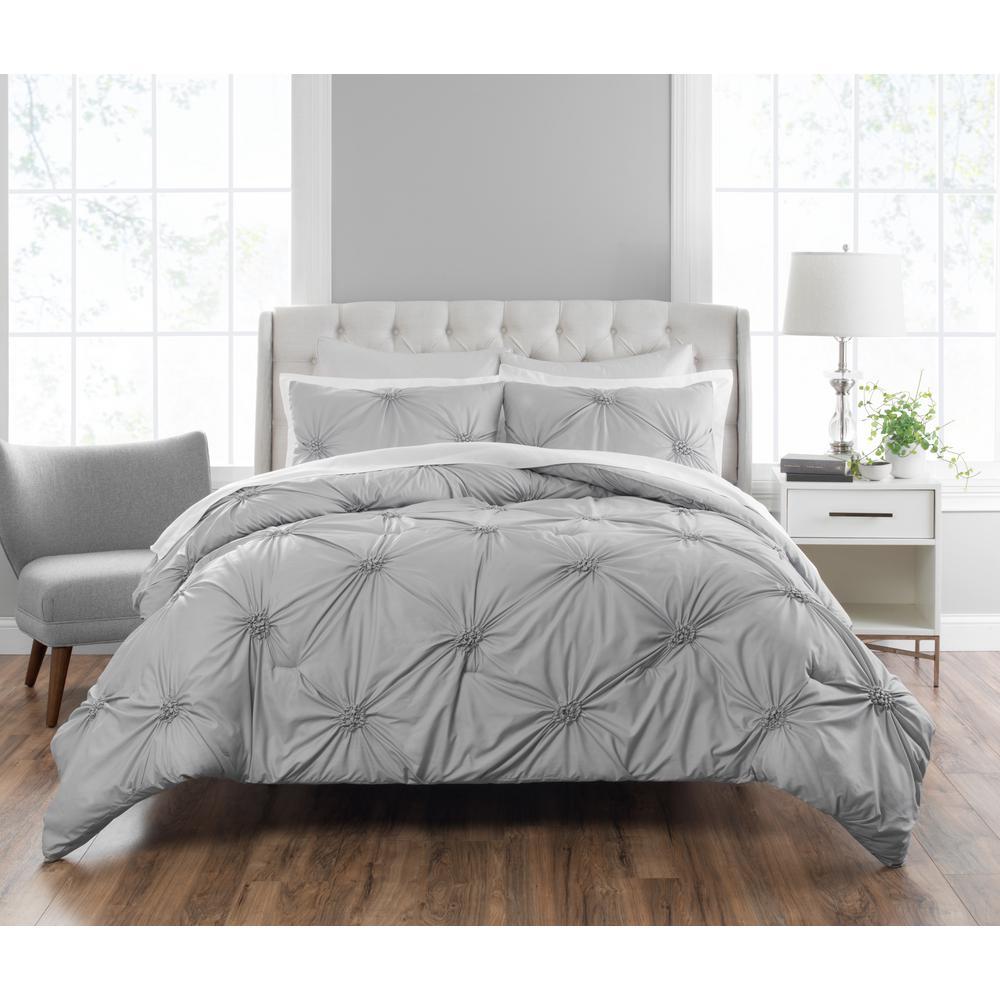 Clairette 3-Piece Techniques Gray Queen Comforter Set