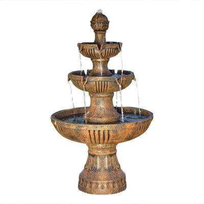 43 in. 3-Tiered Flower Blossom Electric Fountain in Earth
