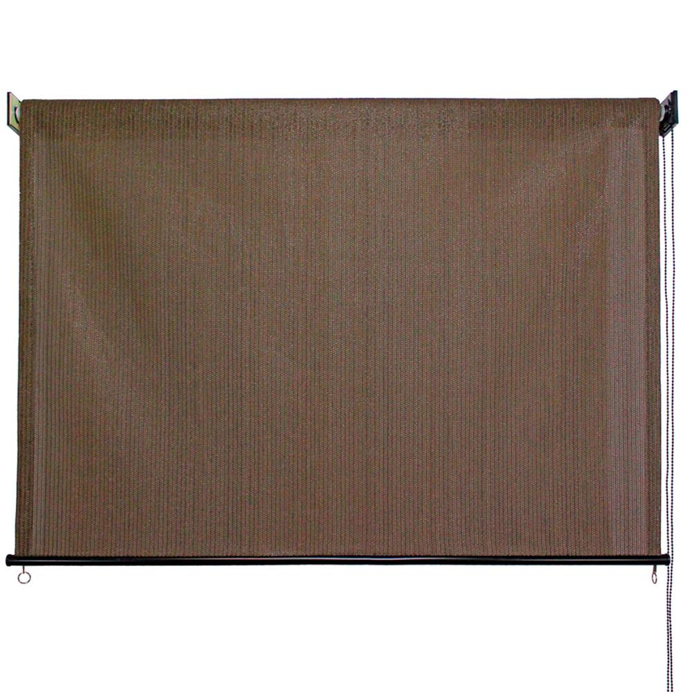 Driftwood HDPE Fabric Cord Operated Exterior Roller Shade - 96 in.