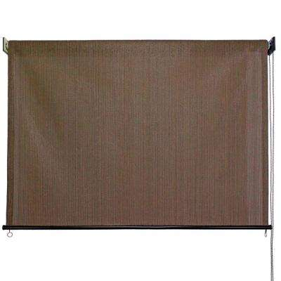 Driftwood HDPE Fabric Cord Operated Exterior Roller Shade - 96 in. W x 72 in. L