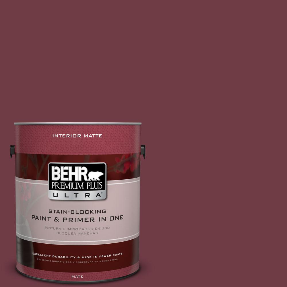 1 gal. #BXC-90 Wild Cranberry Matte Interior Paint and Primer in