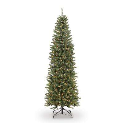 9 ft. Pre-Lit Incandescent Fraser Fir Pencil Artificial Christmas Tree with 550 UL Clear Lights