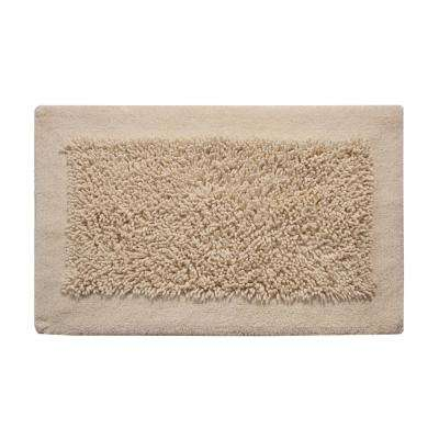 Bath Rug Cotton and Chenille 34 in. x 21 in. in. Latex Spray Non-Skid Backing Ivory Color Long Noodle Loop Pattern