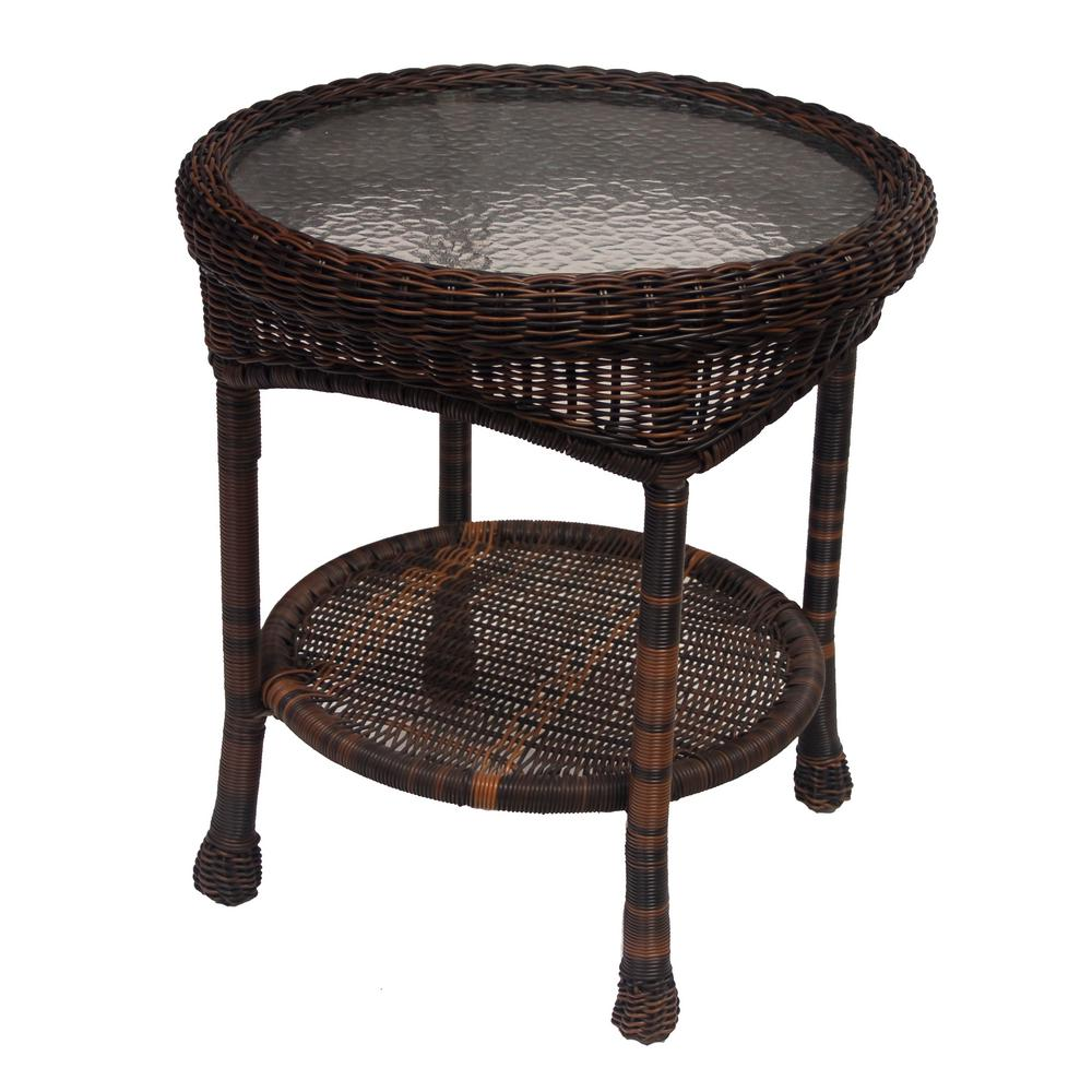 Round Wicker Coffee Table With Storage: Hampton Bay Spring Haven 20 In. Brown All-Weather Wicker
