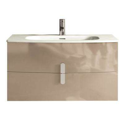 Cali 39.20 in. W x 18.80 in. D x 21.20 in. H Vanity in Brown with Porcelain Top in White with White Basin