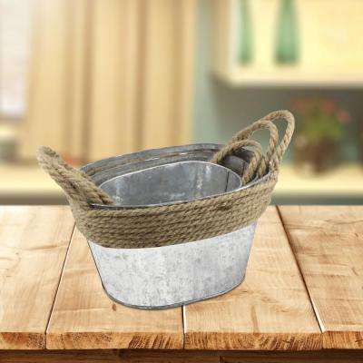 11 in. x 6in. Galvanized Metal Containers with Rope Trim and Handles (Set of 3)