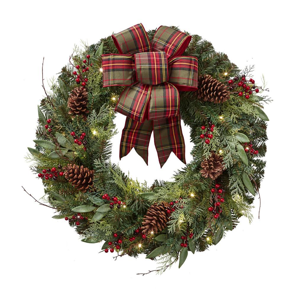 Christmas Ribbon Wreaths.Home Accents Holiday 32 In Pre Lit Artificial Christmas Wreath With Plaid Ribbon And 50 Battery Operated Warm White Led