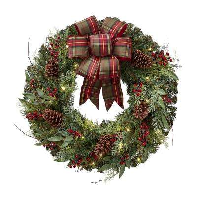 Artificial Christmas Wreaths.32 In Pre Lit Artificial Christmas Wreath With Plaid Ribbon And 50 Battery Operated Warm White Led