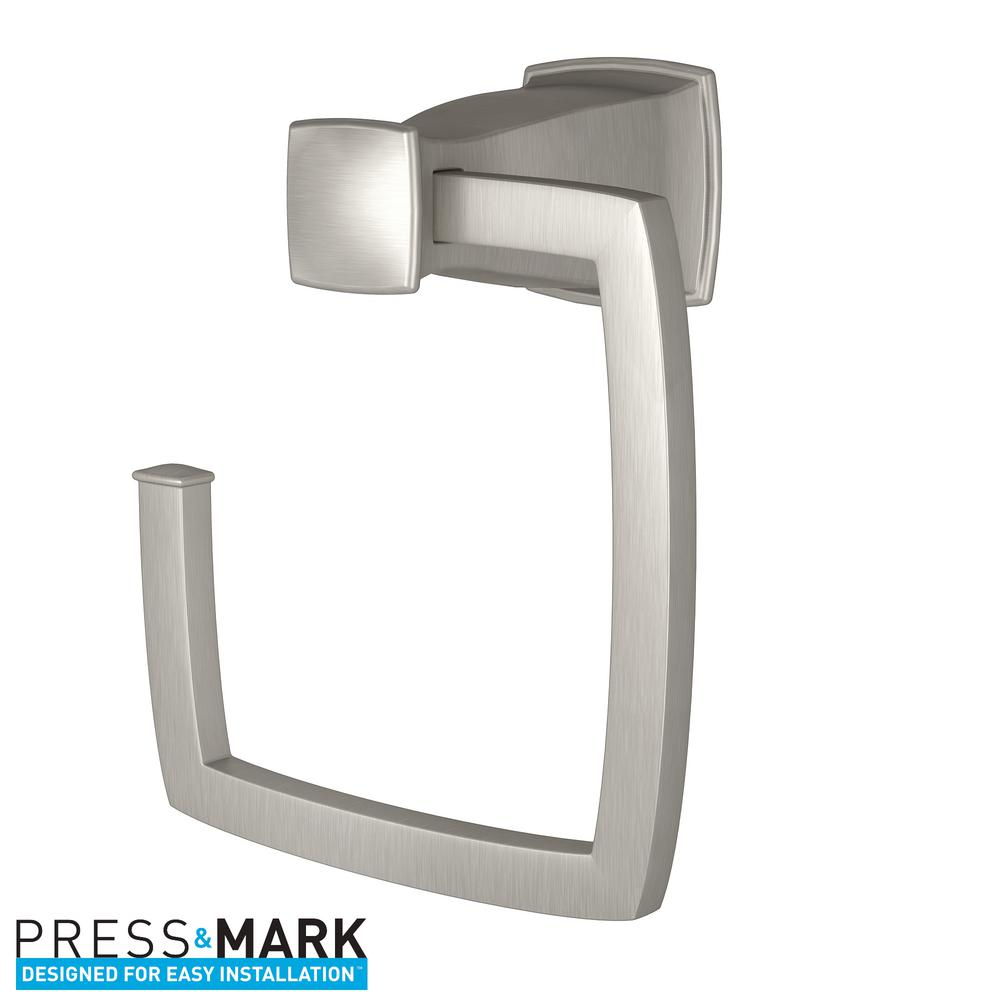 Hensley Towel Ring with Press and Mark in Brushed Nickel