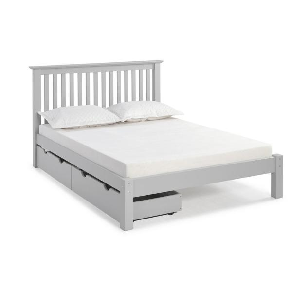 Alaterre Furniture Barcelona Dove Gray Full Bed with Storage Drawers