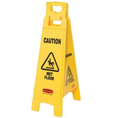 Floor Sign with Caution Wet Floor Imprint 4-Sided in Yellow