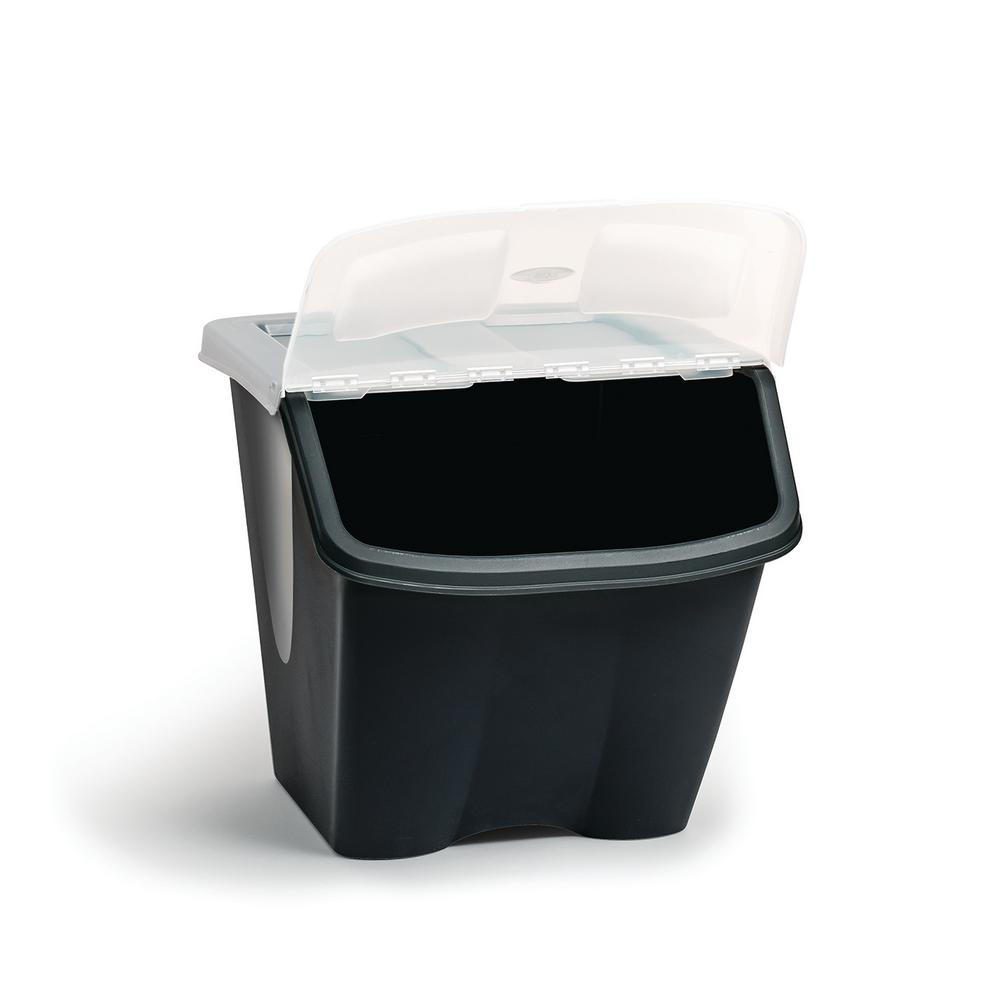 WCREDMONCO W C REDMON CO 38LTR Shutter Bin Storage Tote, charcoal base with clear lid