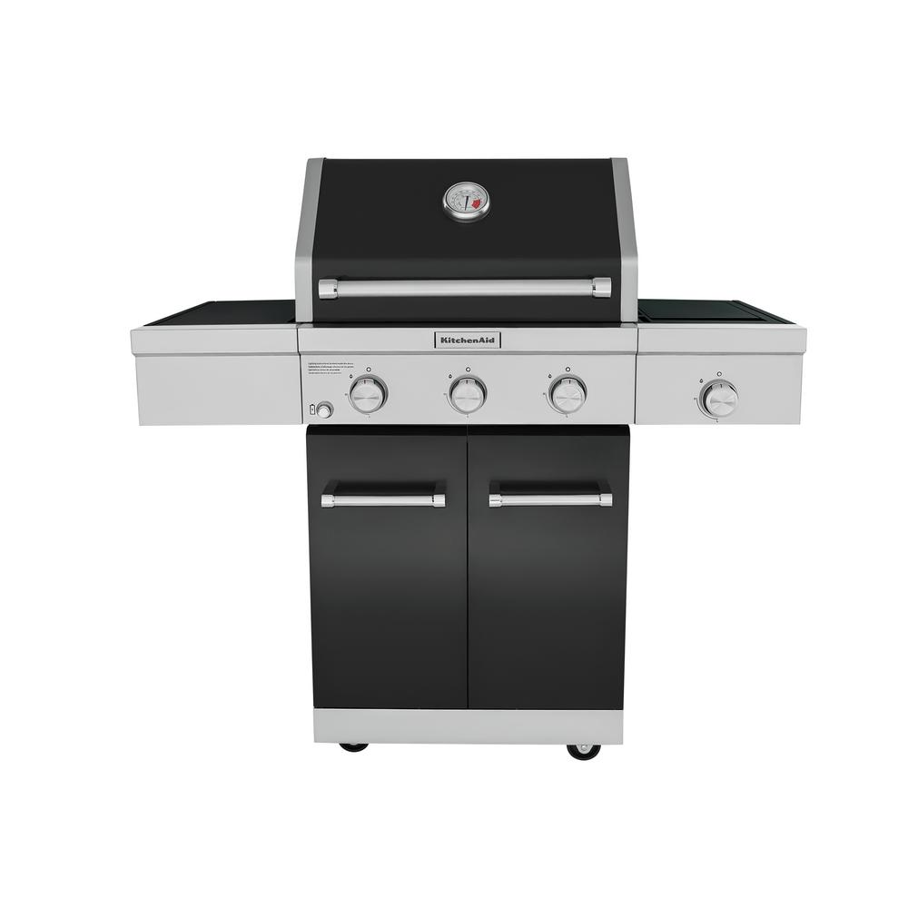 KitchenAid 3-Burner Propane Gas Grill in Black with Ceramic Sear Side Burner