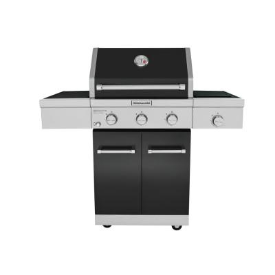 3 Burner Propane Gas Grill In Black With Ceramic Sear Side