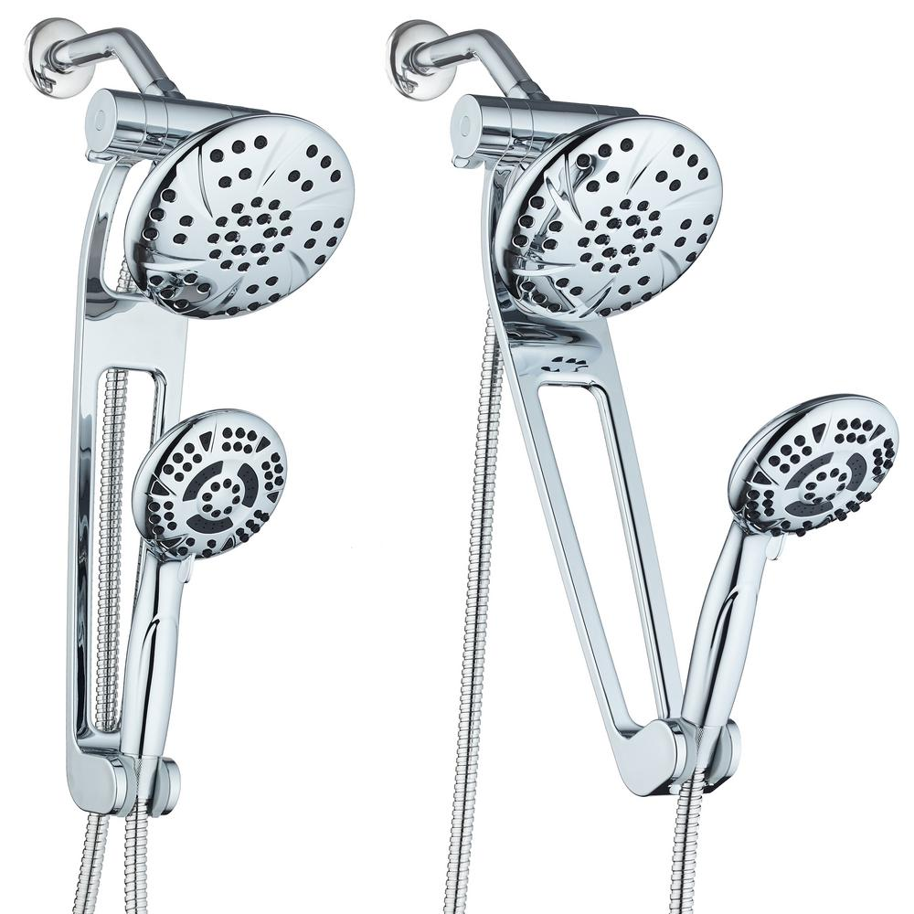 Hotel Spa 13-Spray High Pressure Dual Rainfall Showerhead and Handheld Showerhead with Extension Arm in Chrome